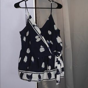 Blue and White Detailed Tank Top